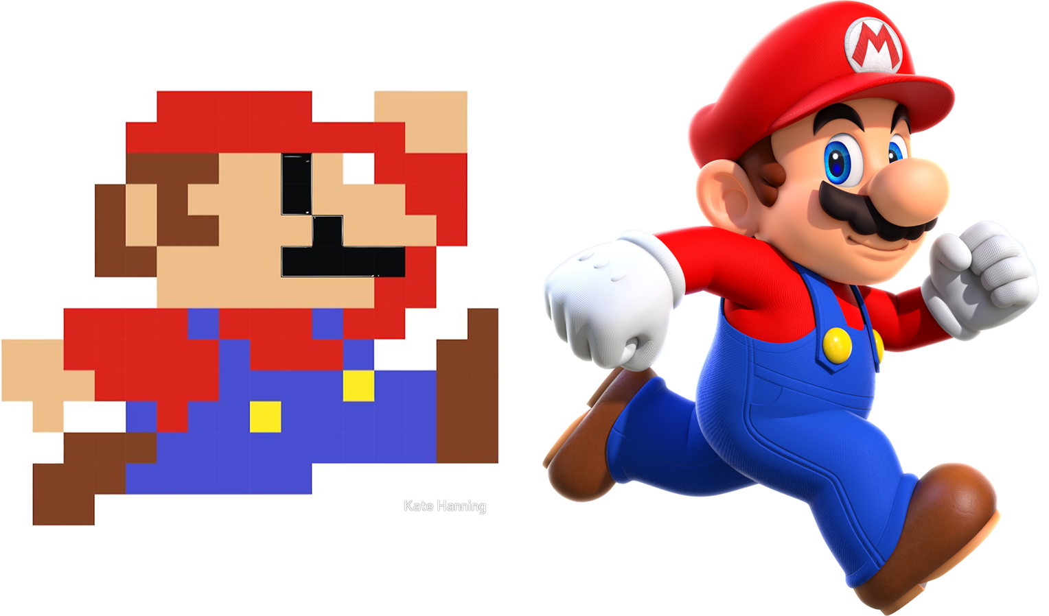 Mario at 2 different resolutions